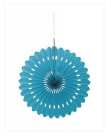 Decoratiewaaier turquoise 40cm