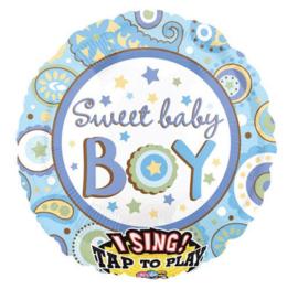 Geboorte jongen folie ballon met muziek 70cm