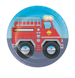 Brandweer bordjes 8 stuks 18cm