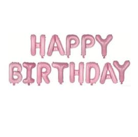 Folie ballon Happy Birthday letters roze