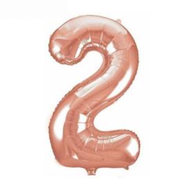 Folie ballon twee rosé goud 45cm