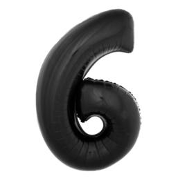 Folie ballon zwart zes 1m