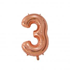 Cijfer drie rosegoud folie ballon 66cm