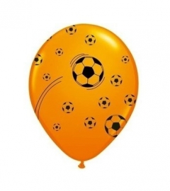 Oranje ballonnen voetbal 25 stuks