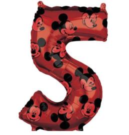 Mickey Mouse cijfer 5 folie ballon 66cm