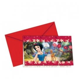 Sneeuwwitje uitnodigingen met rode enveloppen
