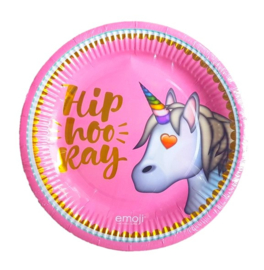 Emoji unicorn borden 6 stuks 23cm