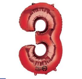 Drie jaar folie ballon rood 86x50cm