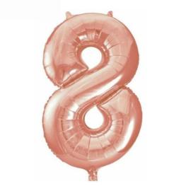 Folie ballon acht rosé goud 45cm
