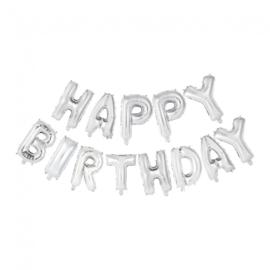 Folie ballon Happy Birthday letters zilver