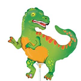 Dino T Rex folie ballon op stok 25cm