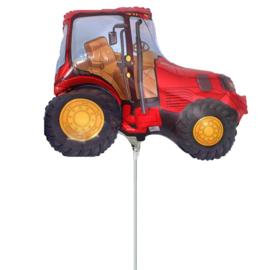 Tractor rood folie ballon op stok 25cm