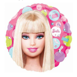 Barbie folie ballon op stok 20cm