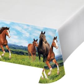 Paarden tafelkleed plastic 137x259cm