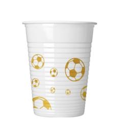 Voetbal bekers goud 8 stuks 250ml