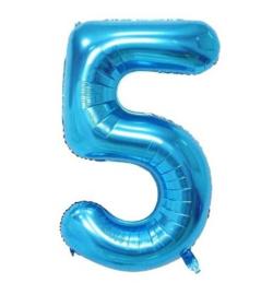 Folieballon vijf blauw 1m