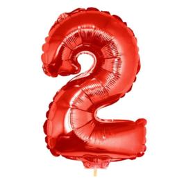 Folie ballon rood twee op stok 45cm