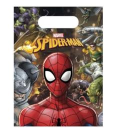Spiderman feestzakjes plastic 6 stuks