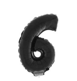 Folie ballon zes zwart op stok 45cm