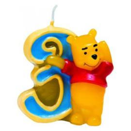 Winnie de Poeh taartkaars cijfer 3