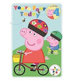 Peppa Pig verjaardagskaart 4 jaar