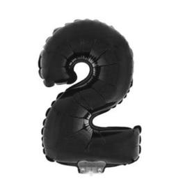 Folie ballon twee zwart op stok 45cm