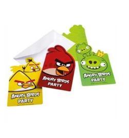 Angry Birds uitnodigingen 6 stuks