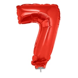 Folie ballon zeven rood op stok 45m