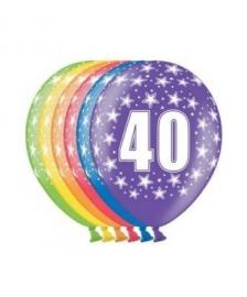 Ballonnen 40 jaar 6 stuks