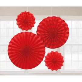 Hangdecoratie rood 4 stuks 20/30/40cm