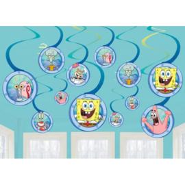 Spongebob hangdecoratie 12 stuks