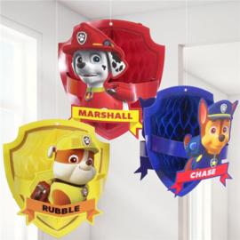 Paw patrol honeycomb versieringen 3 stuks