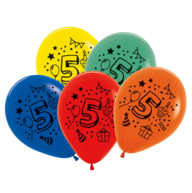 Cijfer vijf ballonnen 7 stuks 30cm