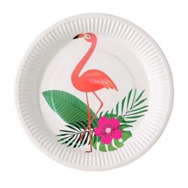 Flamingo blad borden 6 stuks 20cm
