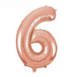 Folie ballon zes rosé goud 45cm