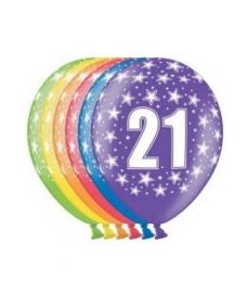 Ballonnen 21 jaar 6 stuks