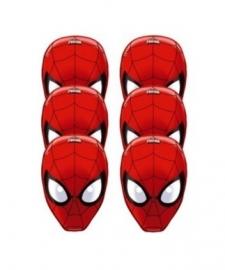 Maskers Spiderman geperforeerd 6 stuks
