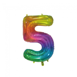 Regenboog vijf folie ballon 76cm