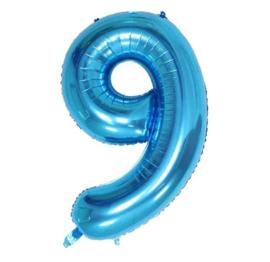 Folie ballon negen blauw 1m