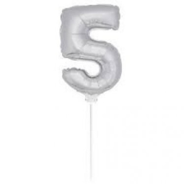 Folie ballon zilver vijf 38cm