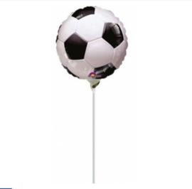 Voetbal folie ballon op stok 20cm