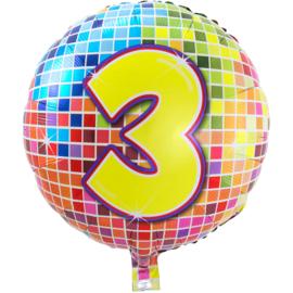 Cijfer drie folie ballon 43cm