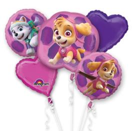 Paw Patrol roze folie ballonnen set 5 stuks