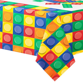 Bouwsteen tafelkleed plastic 1,27x2,59m