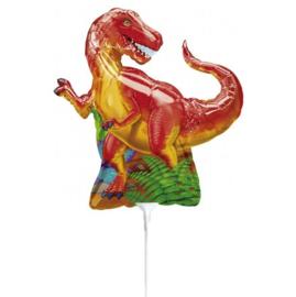 T Rex folie ballon op stok 25cm