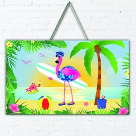 Flamingo 3D deur versiering 47x27cm