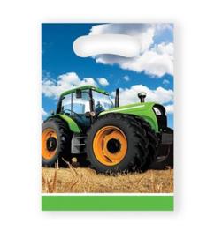 Boerderij tractor feestzakjes plastic 8st