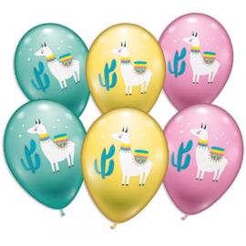 Lama ballonnen 6 stuks