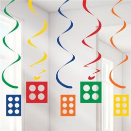 Bouwsteen hangdecoratie 5 stuks
