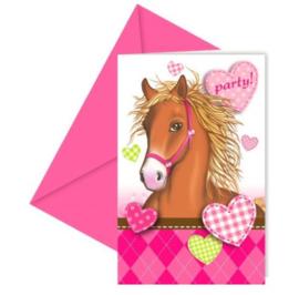 Paarden uitnodigingen 6 stuks